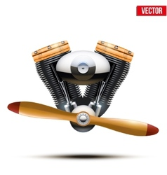 Aircraft engine with propeller vector image