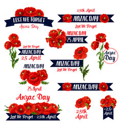 Anzac day lest we forget red poppy icons vector