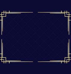 art deco frame with golden gradient vintage vector image