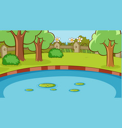Background scene with pond and trees in park vector
