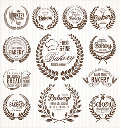 bakery laurel wreath retro labels vector image