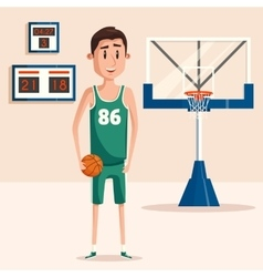 Basketball player holding ball near backboard vector