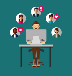 bearded man sitting in desk with laptop people vector image