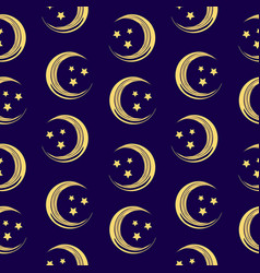 Beautiful seamless pattern with moon and stars vector