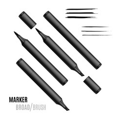 Black marker set double-sided realistic marker vector