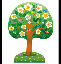 Blooming tree ecological icon concept vector