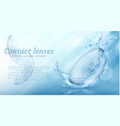 Blue promotion banner with contact lenses vector