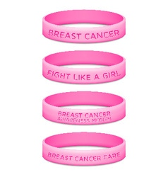 Breast cancer awareness month rubber wristband vector