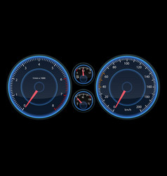 Car speedometer panel view at night on the panel vector