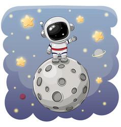 cartoon astronaut on moon on a space vector image