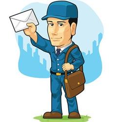 cartoon postman or mailman vector image