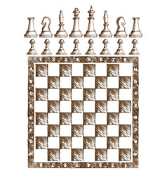 Chessboard drawing with figures vector