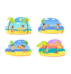 childrens activities on beach summertime vector image