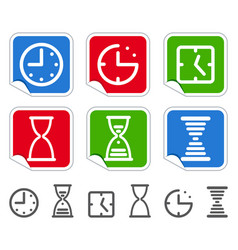 clock on stickers vector image
