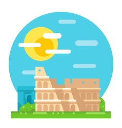 Colosseum ruin flat design landmark vector