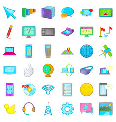 Computer information icons set cartoon style vector