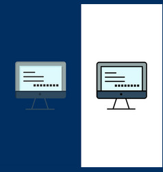 Computer monitor text education icons flat and vector