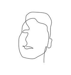 continuous one line abstract face man stock vector image