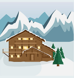 Cozy wooden chalet in the mountain vector