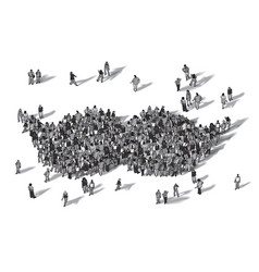 crowd people moustache symbol black and white vector image