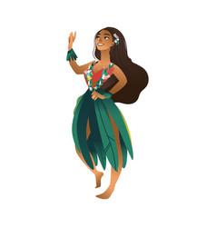cute hawaiian girl with flowers wreath vector image