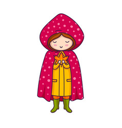 cute little girl in pink raincoat with polka dots vector image