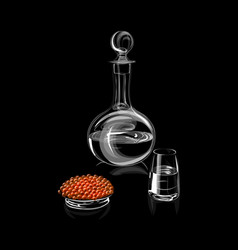 decanter or carafe with glass and red caviar vector image