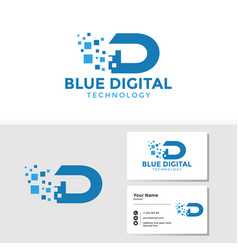 digital letter d logo template with business card vector image