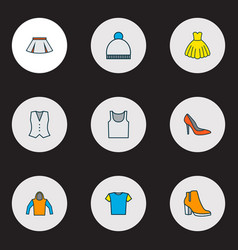dress icons colored line set with mini heels vector image