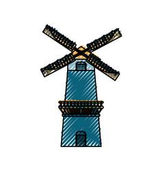 Farm windmill symbol vector