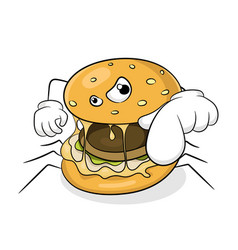 Fast food bad eating concept spider hamburger vector