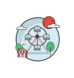 Ferris Wheel Fun Park Flat Design vector image