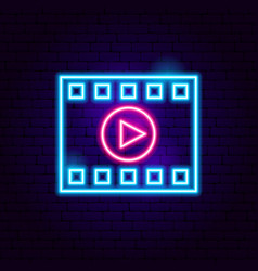 film strip play neon sign vector image