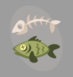 Fish bone garbage for recycling graphic wild vector