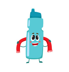 Funny smiling protein shaker bottle character with vector