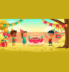 girl celebrate birthday with friends receive gift vector image