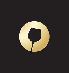 golden glass wine icon vector image