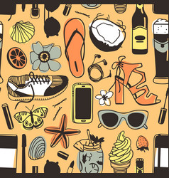 hand drawn summer seamless pattern with shoes vector image