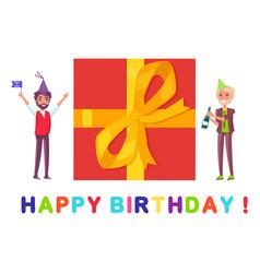 happy birthday greeting card present box and men vector image