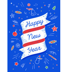 happy new year ribbon banner in bright colorful vector image