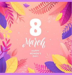 happy womens day march 8 banner with flower vector image