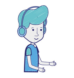 happy young with headphone and casual wear vector image