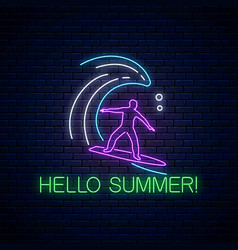 hello summer glowing neon sign with surfer in vector image