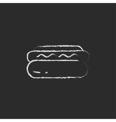 Hotdog icon drawn in chalk vector