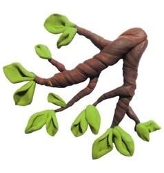 Icon of plasticine tree branch vector