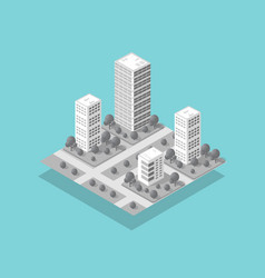 Isometric 3d city with skyscraper from urban vector