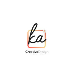 Ka initial letter handwriting logo art hand drawn vector
