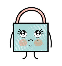Kawaii cute thinking padlock security vector