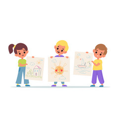 Kids show drawings children arts presentation vector