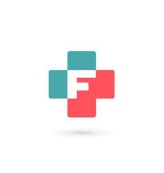 Letter f cross plus logo icon design template vector